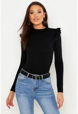 Black Tall Ruffle Detail Rib Bodysuit
