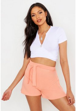 Womens Apricot Tall Jumbo Rib Flippy Shorts