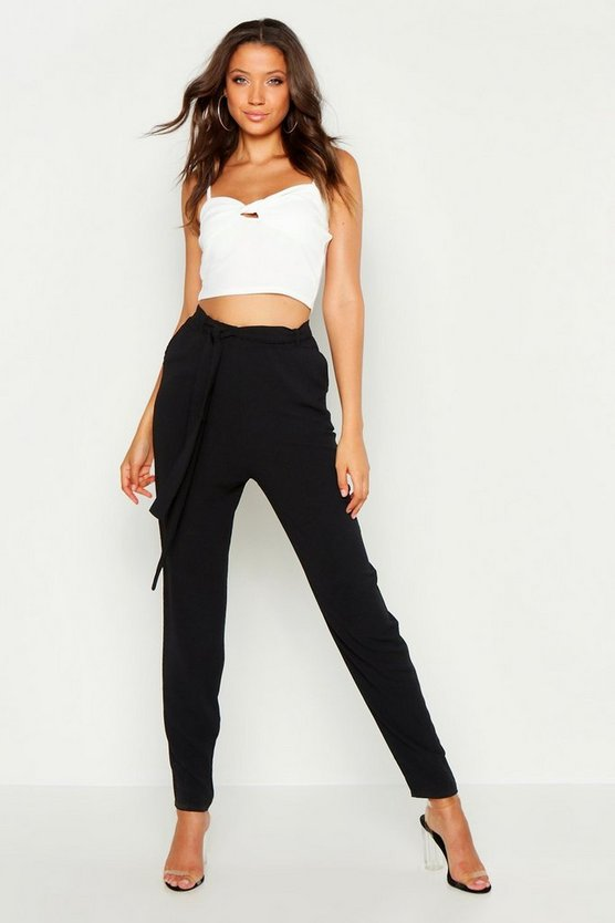 Womens Black Tall Tie Waist Tapered Trousers