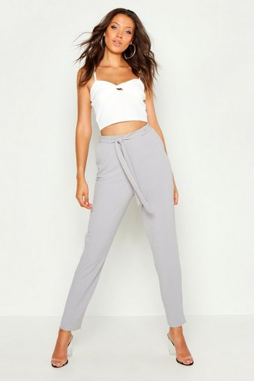 Womens Grey Tall Tie Waist Tapered Trousers