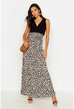 Womens Tall Leopard Print Maxi Dress