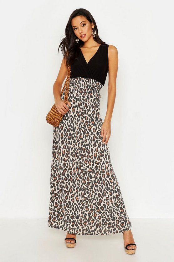 Womens Leopard Tall Leopard Print Maxi Dress