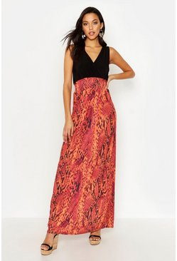 Womens Red Tall Snake Print Maxi Dress