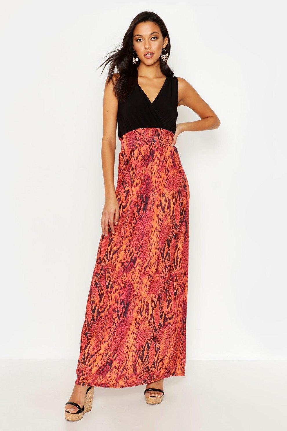 ed7b4312737a6 Tall Snake Print Maxi Dress | Boohoo