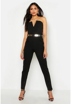 Womens Black Tall Bandeau Belted Jumpsuit