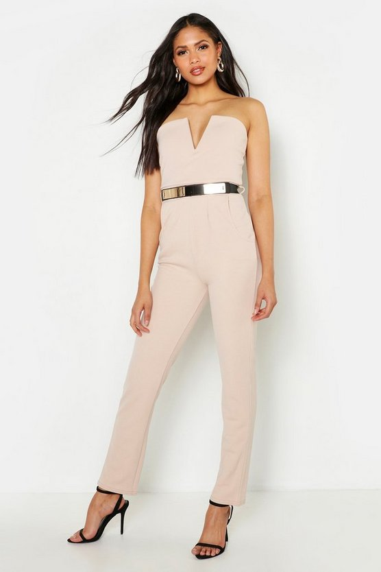 Womens Stone Tall Bandeau Belted Jumpsuit