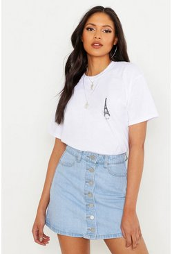 White Tall Paris Pocket Print T-Shirt
