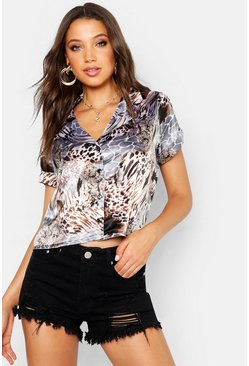 Womens Grey Tall Leopard Print Satin Shirt