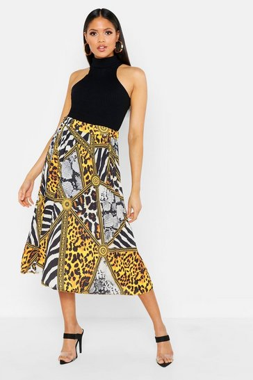 Womens Yellow Tall Chain Print Pleated Midi Skirt