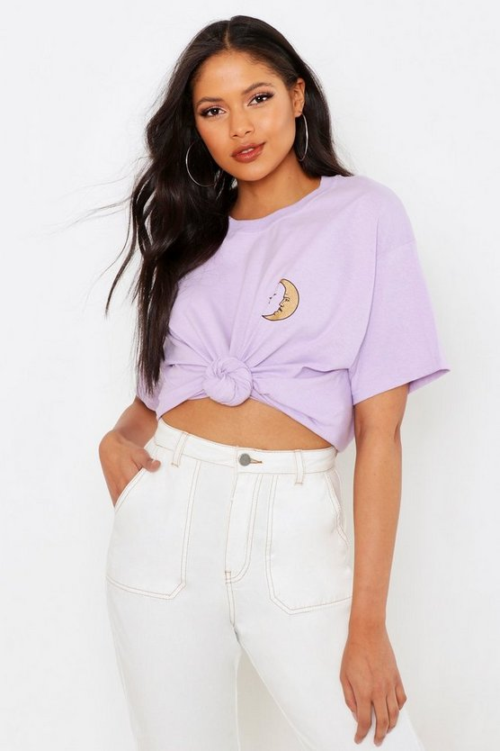 Womens Lilac Tall Moon Pocket Print T-Shirt