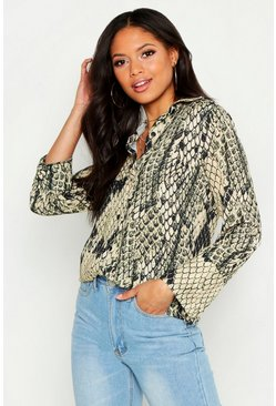 Womens Stone Tall Snake Print Woven Shirt