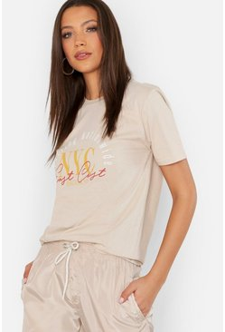Womens Sand Tall NYC Slogan T-Shirt