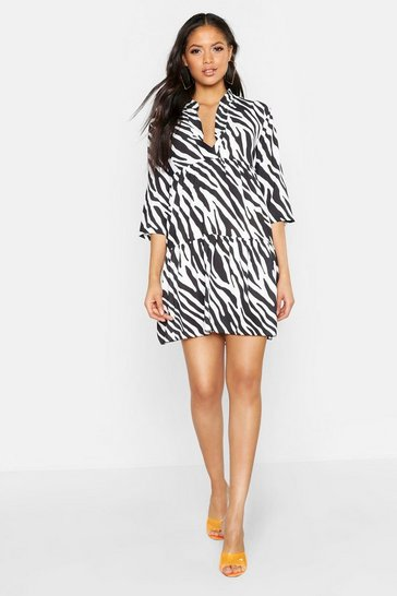 Womens Black Tall Zebra Print Smock Dress