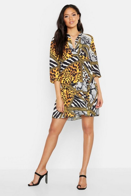 Womens Yellow Tall Chain Print Smock Dress