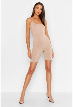 Womens Stone Tall One Shoulder Rib Unitard