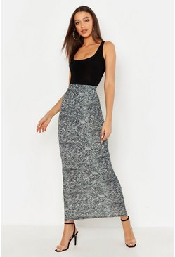 Womens Green Tall Animal Print Maxi Skirt