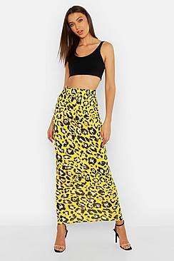 Tall Leopard Print Maxi Skirt