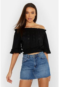 Womens Black Tall Broderie Anglaise Bardot Frill Crop Top