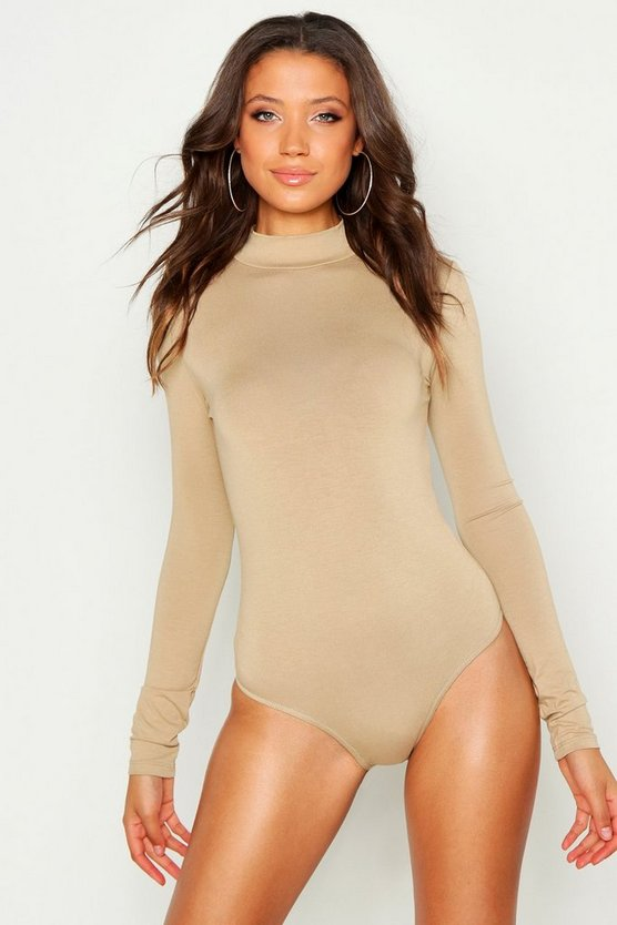 Womens Stone Tall Turtle Neck Long Sleeve Bodysuit