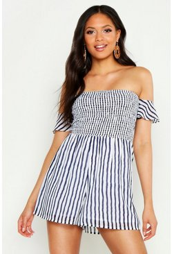 Womens Navy Tall Stripe Shirred Tie Sleeve Playsuit