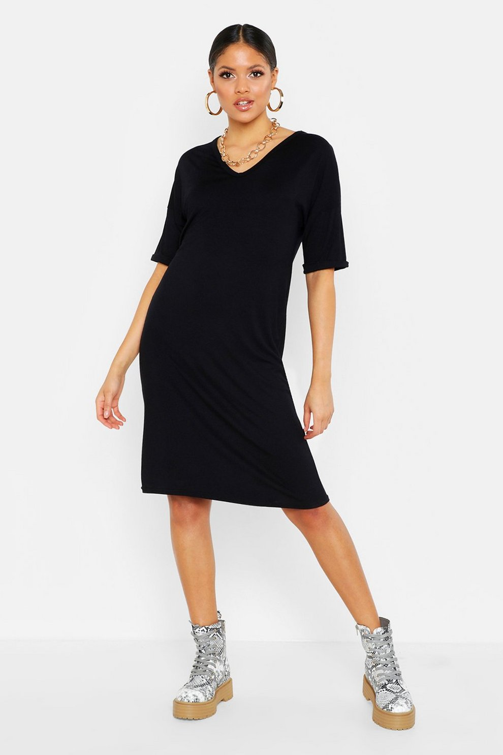 5f37de71919 Womens Black Tall Turn Cuff Oversized T-Shirt Dress