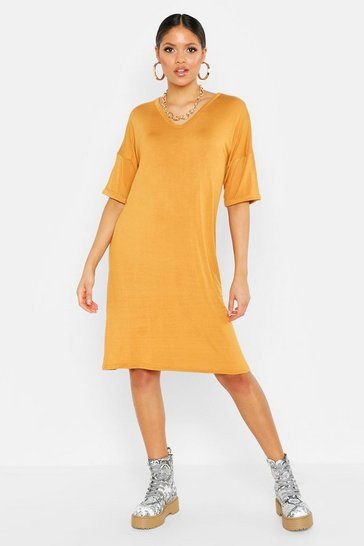 Womens Mustard Tall Turn Cuff Oversized T-Shirt Dress