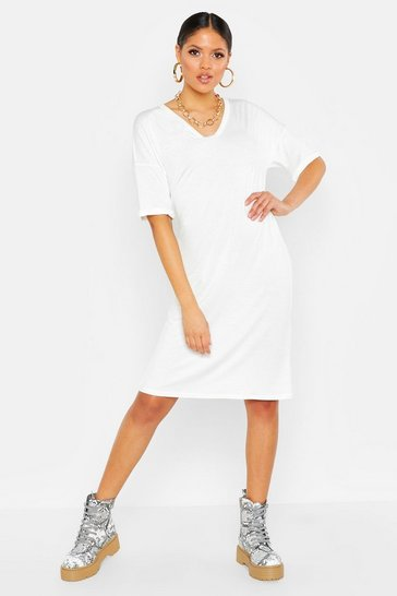 Womens White Tall Turn Cuff Oversized T-Shirt Dress