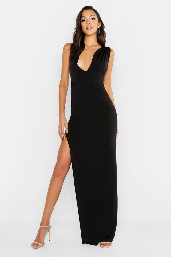 Womens Black Tall Plunge One Shoulder Strappy Maxi