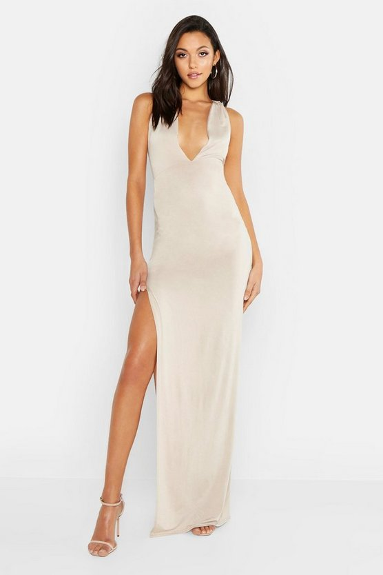 Womens Stone Tall Plunge One Shoulder Strappy Maxi