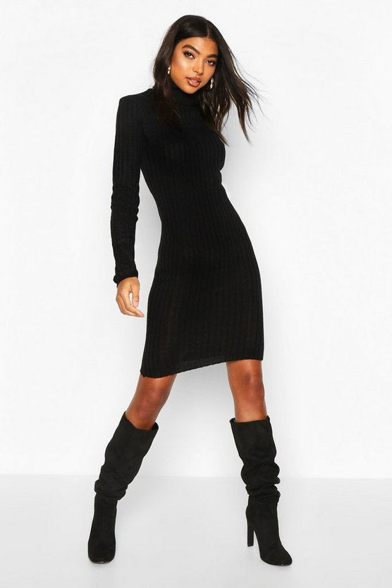 Black Tall Longline Rib Knit Roll Neck Dress