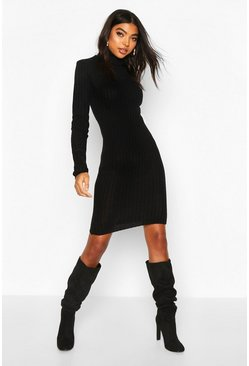 Womens Black Tall Longline Rib Knit Roll Neck Dress