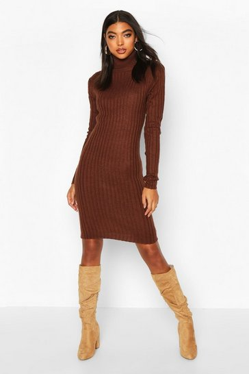 Chocolate Tall Longline Rib Knit Roll Neck Dress