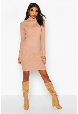 Dusky pink Tall Longline Rib Knit Roll Neck Dress