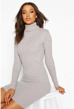 Womens Grey Tall Longline Rib Knit Roll Neck Tunic