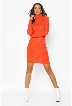 Orange Tall Longline Rib Knit Roll Neck Tunic