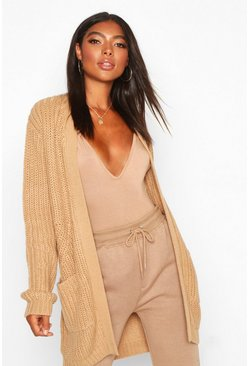 Womens Camel Tall Chunky Cardigan With Pockets