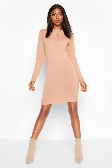 Blush Tall Crew Neck Long Sleeve Dress