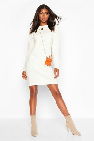 Ivory Tall Crew Neck Long Sleeve Dress