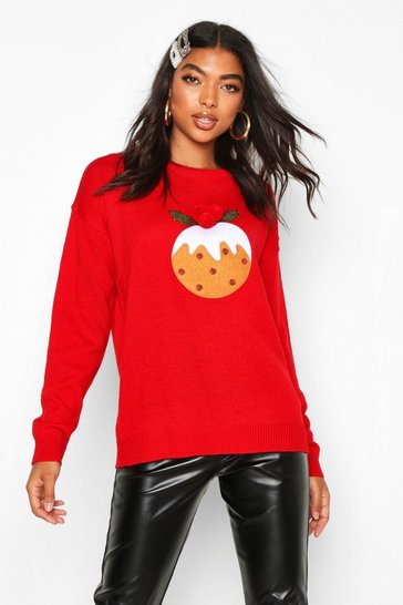 Red Tall Pom Pom Christmas Pudding Jumper