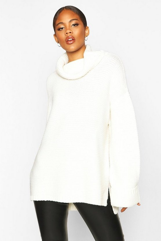 Tall Cowl Neck Jumper With Split Side Seam