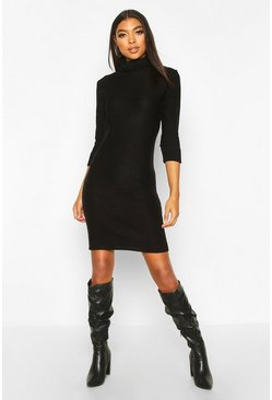 Black Tall Rib Knit Roll Neck Jumper Dress