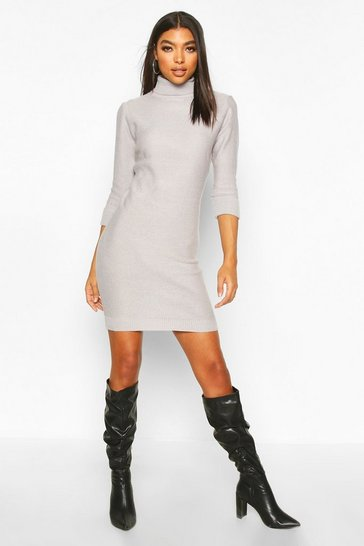 Womens Grey Tall Rib Knit Roll Neck Jumper Dress