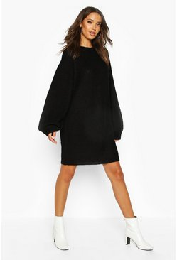 Black Tall Crew Neck Fisherman Rib Jumper Dress