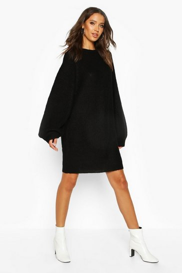 Tall Crew Neck Fisherman Rib Jumper Dress