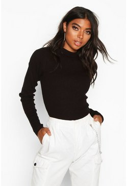 Womens Black Tall Ribbed Turtle Neck Jumper