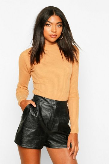 Camel Tall Ribbed Turtle Neck Jumper