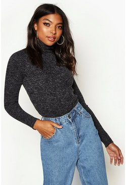 Womens Black Tall Rib Knit Roll Neck Jumper