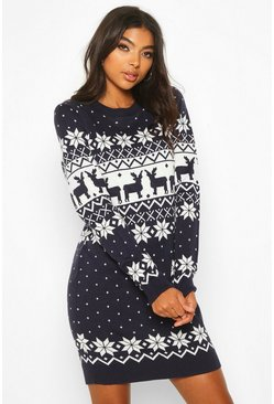 Womens Navy Tall Fairisle Festive Knitted Dress