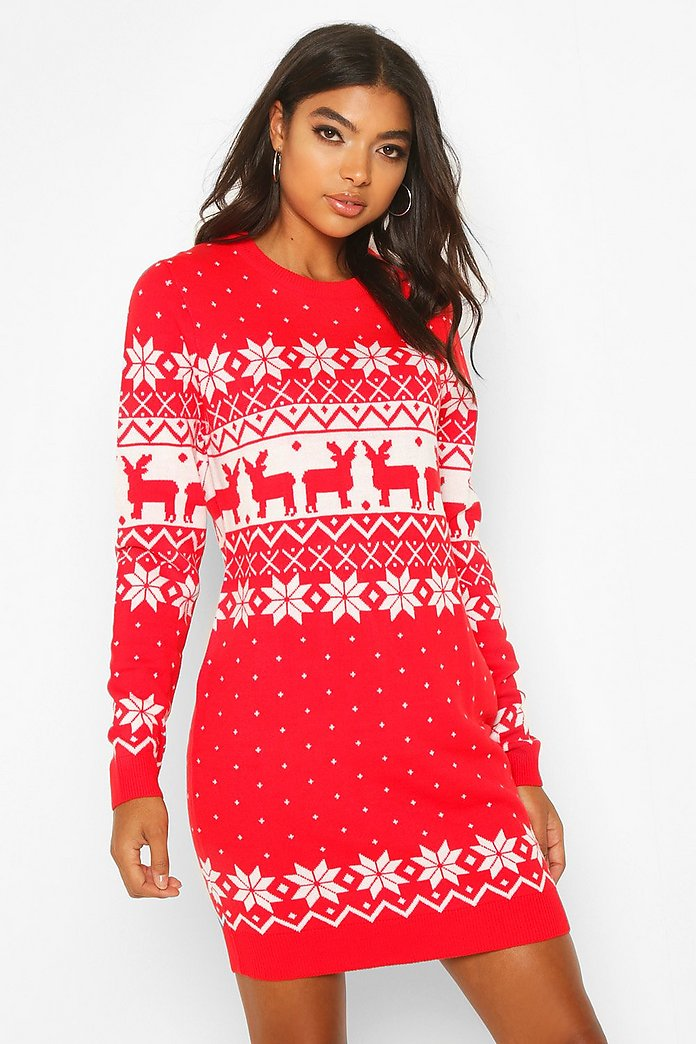 Tall Fairisle Festive Knitted Dress by Boohoo