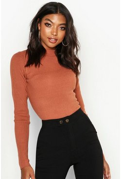 Womens Terracotta Tall Ribbed Turtle Neck Jumper